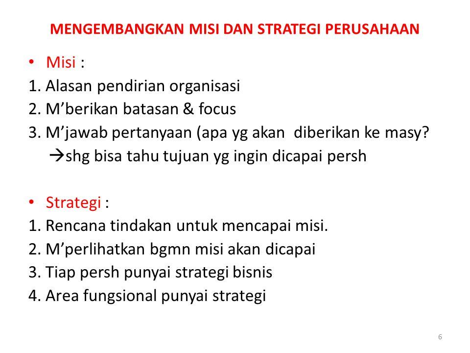 MENGEMBANGKAN MISI DAN STRATEGI PERUSAHAAN Misi : 1. Alasan pendirian organisasi 2. M'berikan batasan & focus 3. M'jawab pertanyaan (apa yg akan diber