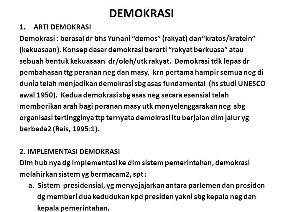 DEMOKRASI 1.ARTI DEMOKRASI Demokrasi : berasal dr bhs Yunani demos (rakyat) dan kratos/kratein (kekuasaan).
