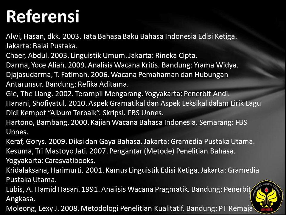 Referensi Alwi, Hasan, dkk. 2003. Tata Bahasa Baku Bahasa Indonesia Edisi Ketiga.