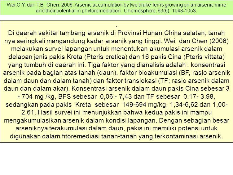Di daerah sekitar tambang arsenik di Provinsi Hunan China selatan, tanah nya seringkali mengandung kadar arsenik yang tinggi.