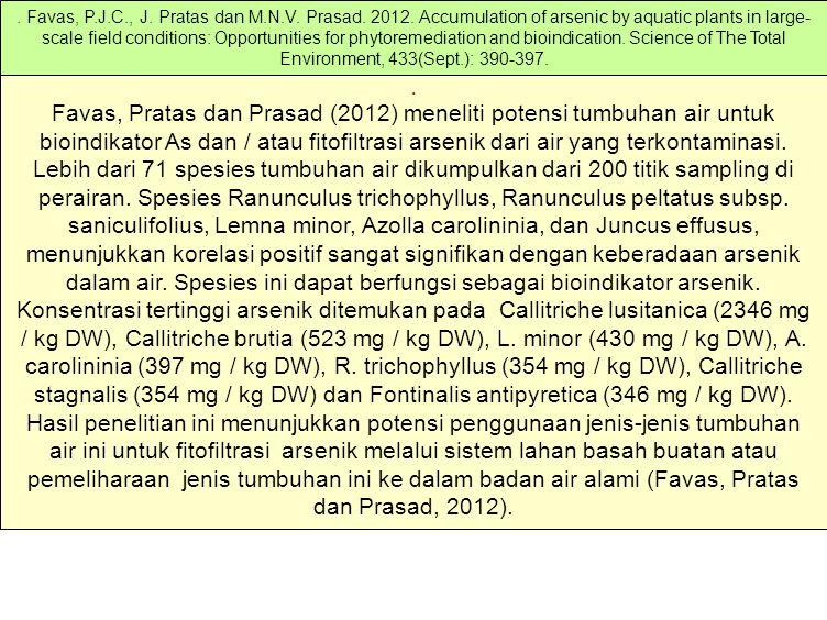 Favas, Pratas dan Prasad (2012) meneliti potensi tumbuhan air untuk bioindikator As dan / atau fitofiltrasi arsenik dari air yang terkontaminasi.