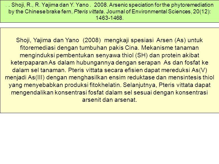 Shoji, Yajima dan Yano (2008) mengkaji spesiasi Arsen (As) untuk fitoremediasi dengan tumbuhan pakis Cina.