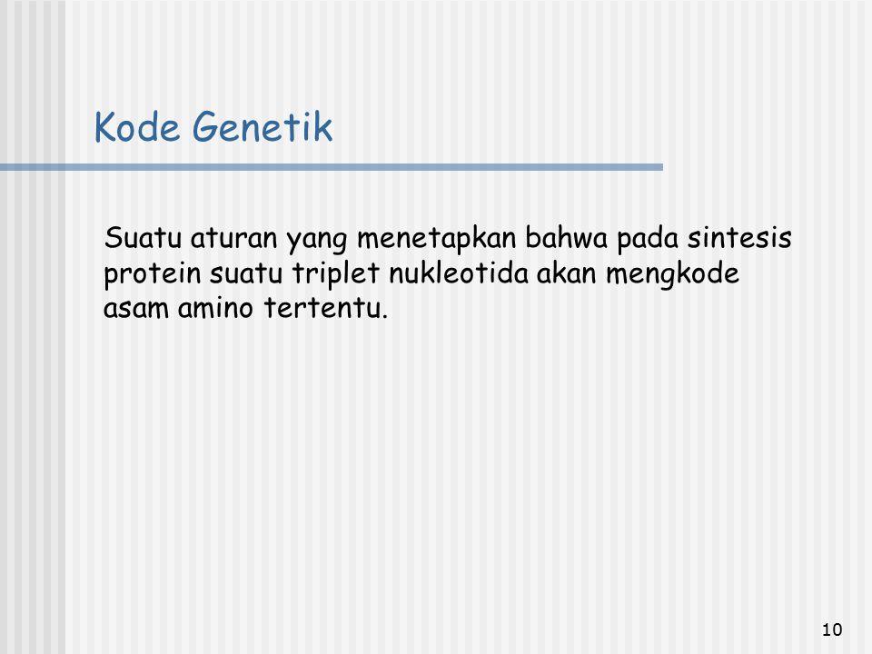 10 Kode Genetik Suatu aturan yang menetapkan bahwa pada sintesis protein suatu triplet nukleotida akan mengkode asam amino tertentu.