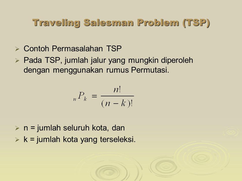 Terdapat dua jenis TSP   Asimetris, dan   Simetris   Asimetris, dengan ketentuan : - Biaya dari kota 1 ke kota 2 ≠ biaya dari kota 2 ke kota 1 - Jumlah jalur yang mungkin merupakan permutasi jumlah kota dibagi jumlah kota, mis.