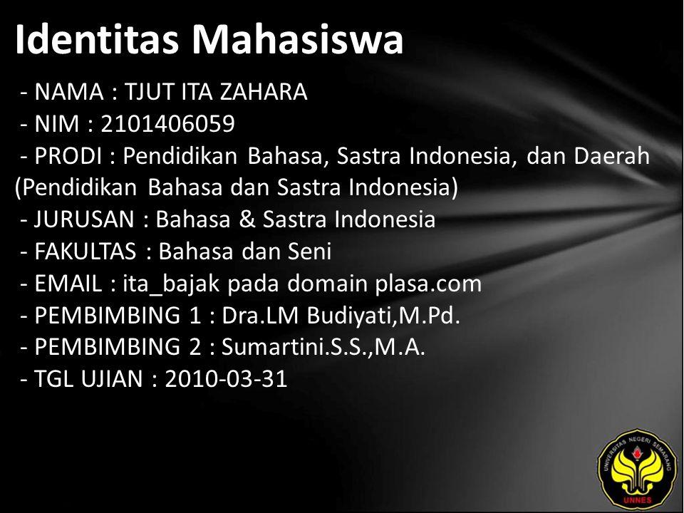 Identitas Mahasiswa - NAMA : TJUT ITA ZAHARA - NIM : 2101406059 - PRODI : Pendidikan Bahasa, Sastra Indonesia, dan Daerah (Pendidikan Bahasa dan Sastr