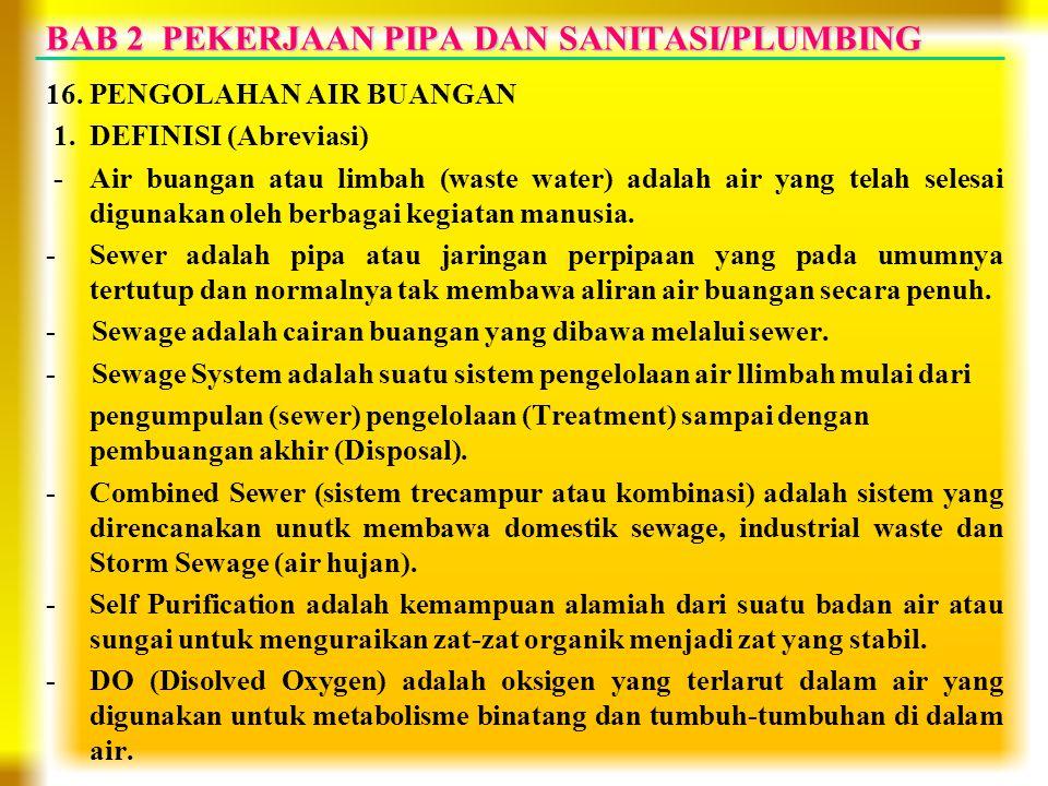 BAB 2 PEKERJAAN PIPA DAN SANITASI/PLUMBING 16. PENGOLAHAN AIR BUANGAN 1. DEFINISI (Abreviasi) - Air buangan atau limbah (waste water) adalah air yang