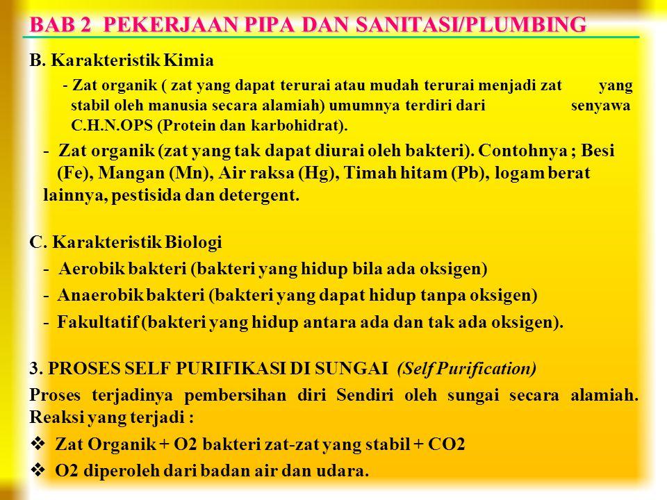 BAB 2 PEKERJAAN PIPA DAN SANITASI/PLUMBING B. Karakteristik Kimia - Zat organik ( zat yang dapat terurai atau mudah terurai menjadi zat yang stabil ol