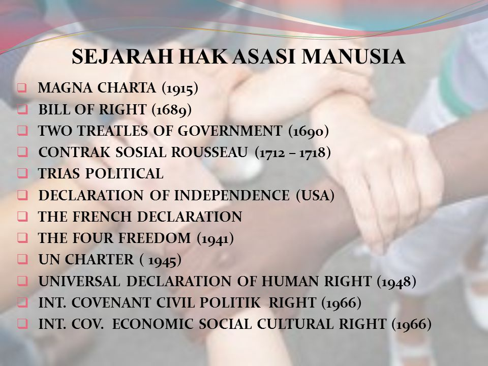 SEJARAH HAK ASASI MANUSIA  MAGNA CHARTA (1915)  BILL OF RIGHT (1689)  TWO TREATLES OF GOVERNMENT (1690)  CONTRAK SOSIAL ROUSSEAU (1712 – 1718)  T