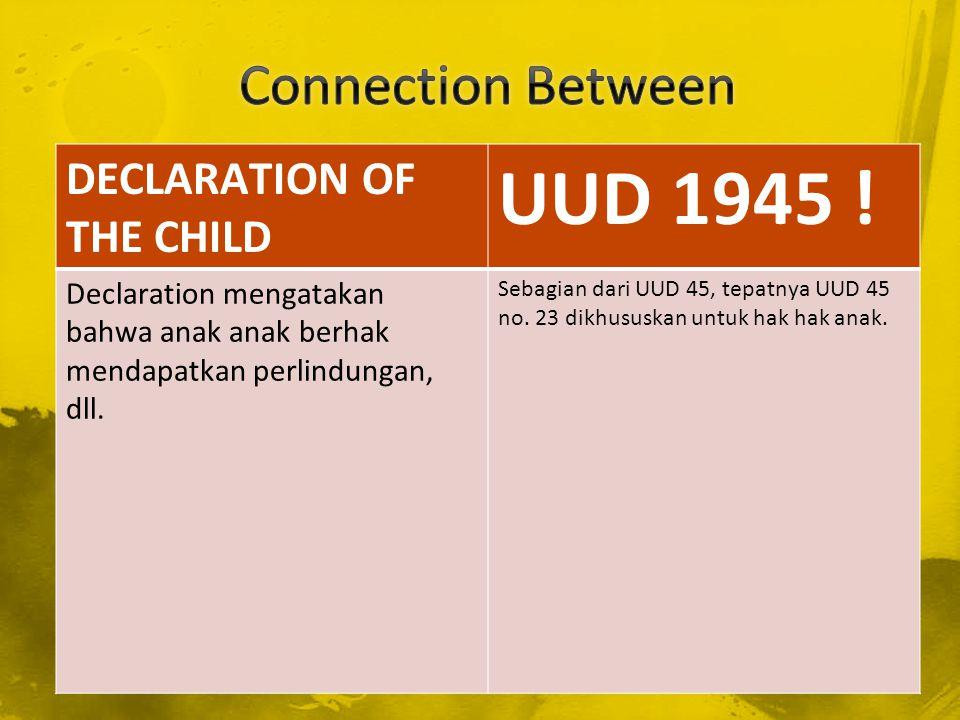 DECLARATION OF HUMAN RIGHT PANCASILA Declaration mencantumkan bahwa anak anak berhak untuk beribadah dan memilih agamanya sendiri.