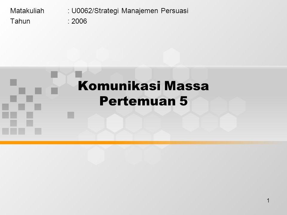 1 Komunikasi Massa Pertemuan 5 Matakuliah: U0062/Strategi Manajemen Persuasi Tahun: 2006