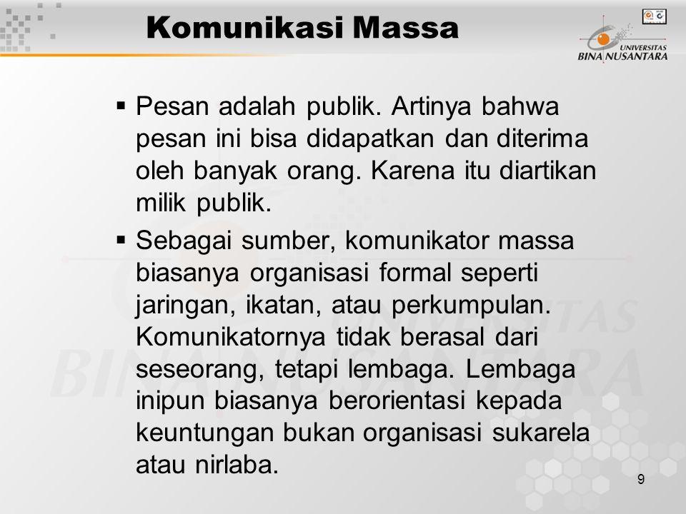 9 Komunikasi Massa  Pesan adalah publik.