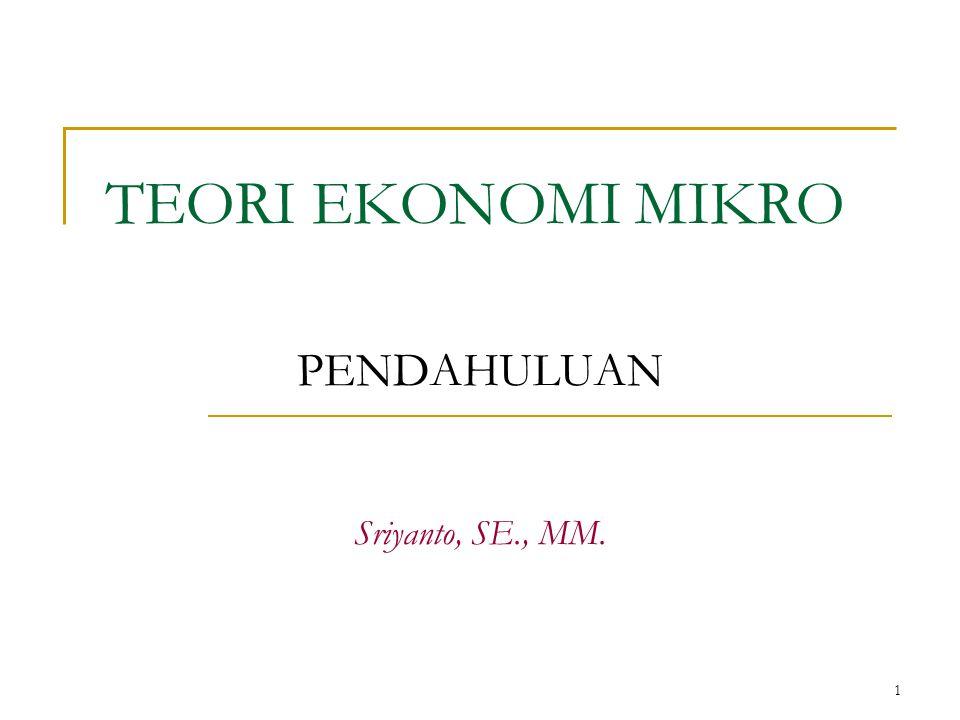 1 TEORI EKONOMI MIKRO PENDAHULUAN Sriyanto, SE., MM.