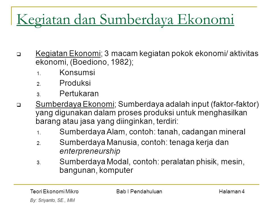 Teori Ekonomi Mikro Bab I Pendahuluan Halaman 4 By: Sriyanto, SE., MM Kegiatan dan Sumberdaya Ekonomi  Kegiatan Ekonomi; 3 macam kegiatan pokok ekonomi/ aktivitas ekonomi, (Boediono, 1982); 1.