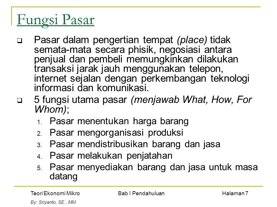 Teori Ekonomi Mikro Bab I Pendahuluan Halaman 7 By: Sriyanto, SE., MM Fungsi Pasar  Pasar dalam pengertian tempat (place) tidak semata-mata secara ph