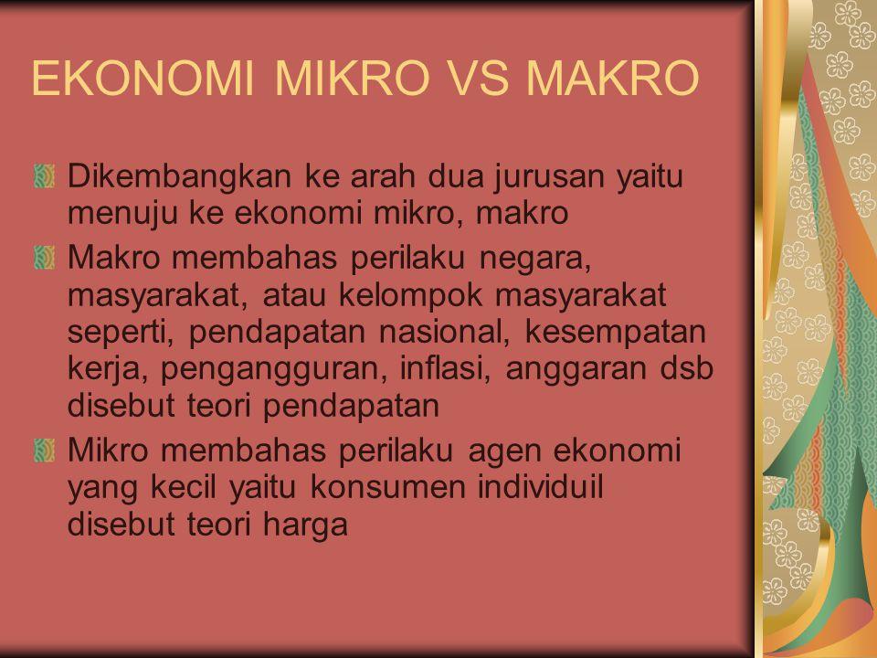 EKONOMI MIKRO VS MAKRO Dikembangkan ke arah dua jurusan yaitu menuju ke ekonomi mikro, makro Makro membahas perilaku negara, masyarakat, atau kelompok