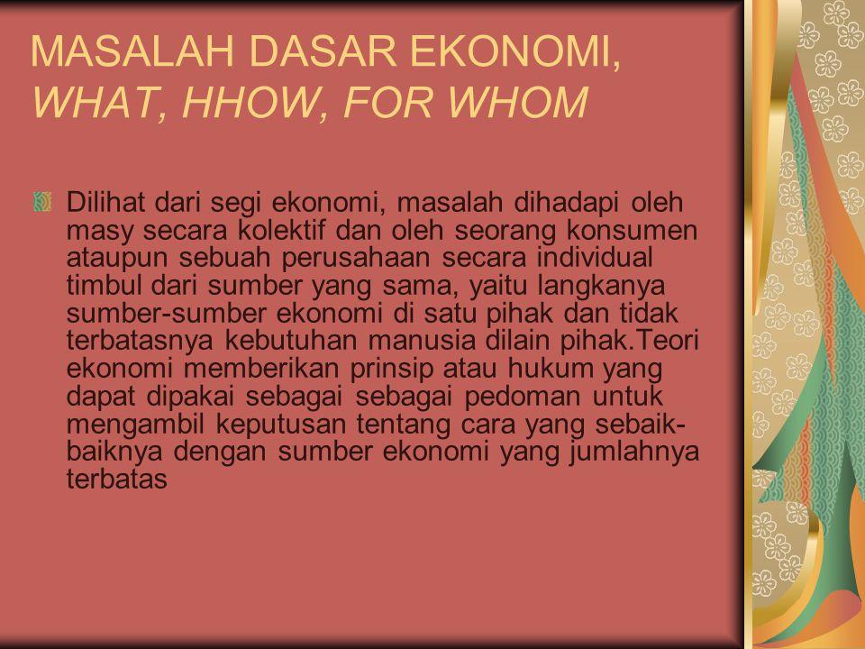 MASALAH DASAR EKONOMI, WHAT, HHOW, FOR WHOM Dilihat dari segi ekonomi, masalah dihadapi oleh masy secara kolektif dan oleh seorang konsumen ataupun se