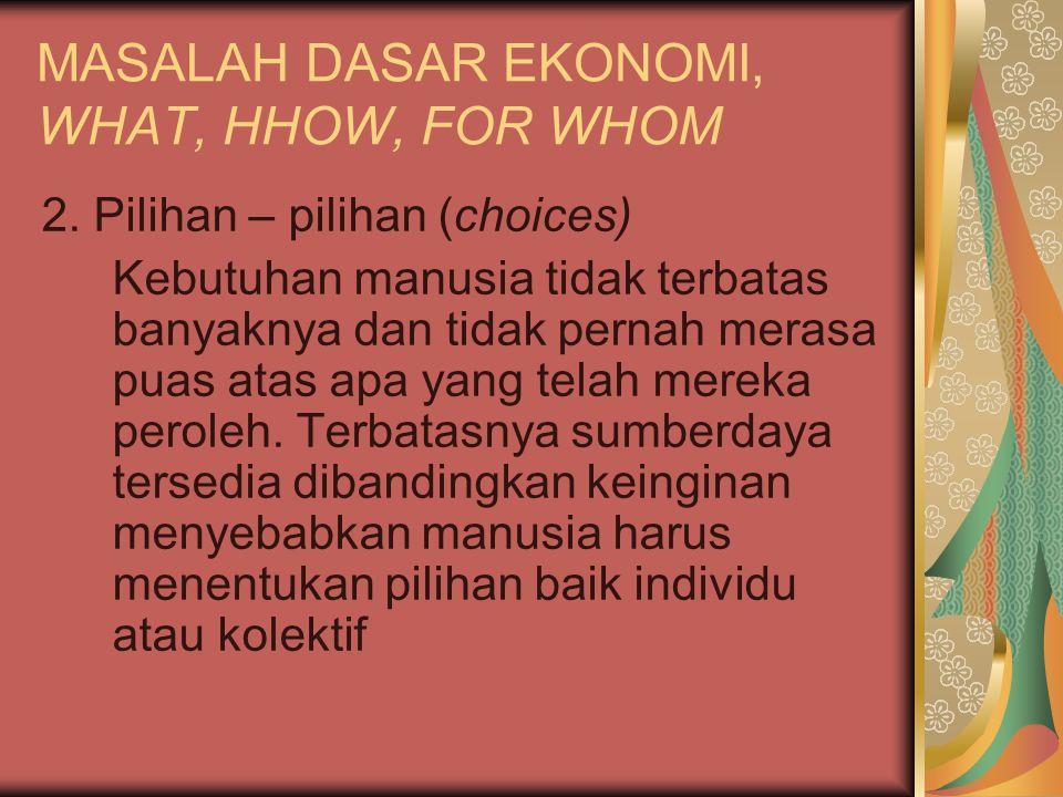MASALAH DASAR EKONOMI, WHAT, HHOW, FOR WHOM 3.