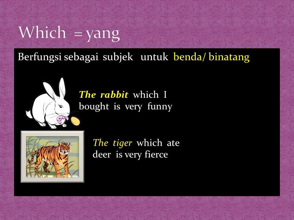 Berfungsi sebagai subjek untuk benda/ binatang The rabbit which I bought is very funny The tiger which ate deer is very fierce