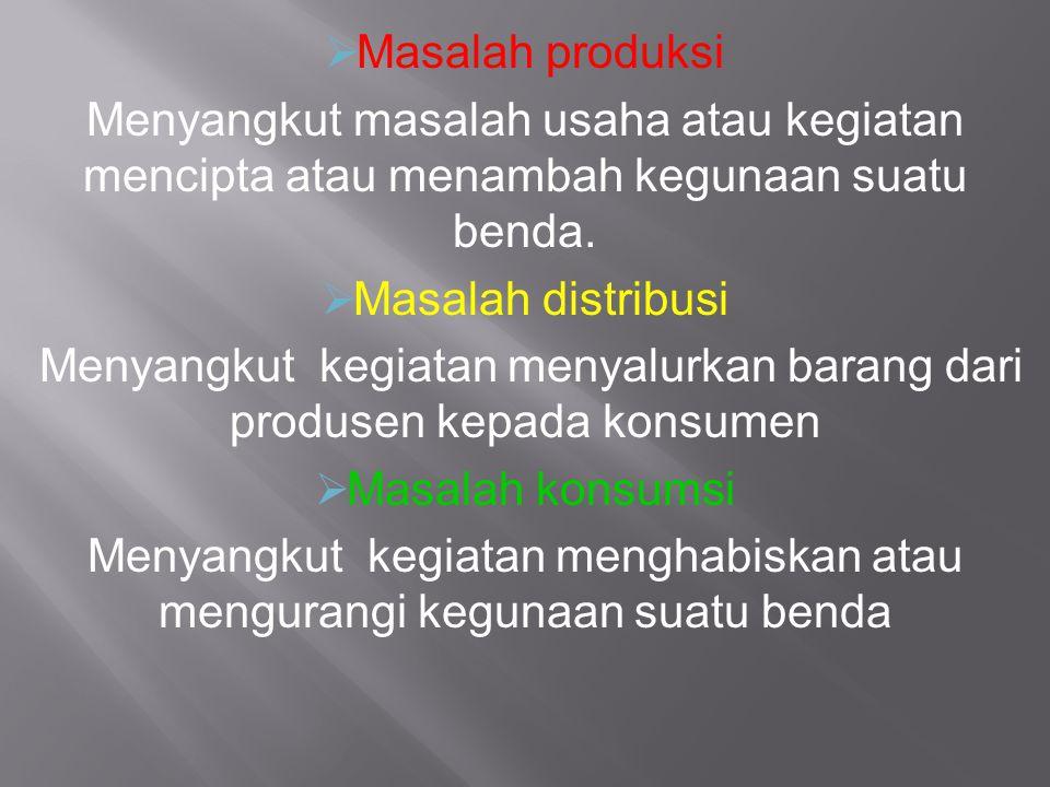  Masalah produksi Menyangkut masalah usaha atau kegiatan mencipta atau menambah kegunaan suatu benda.