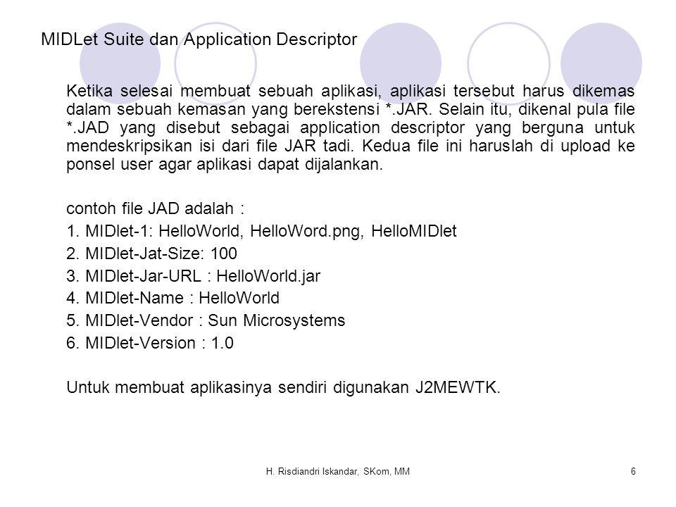H. Risdiandri Iskandar, SKom, MM6 MIDLet Suite dan Application Descriptor Ketika selesai membuat sebuah aplikasi, aplikasi tersebut harus dikemas dala