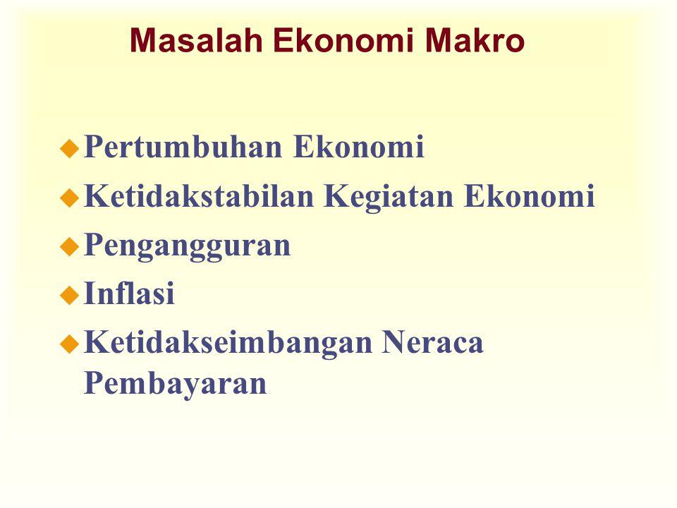 u Pertumbuhan Ekonomi u Ketidakstabilan Kegiatan Ekonomi u Pengangguran u Inflasi u Ketidakseimbangan Neraca Pembayaran Masalah Ekonomi Makro