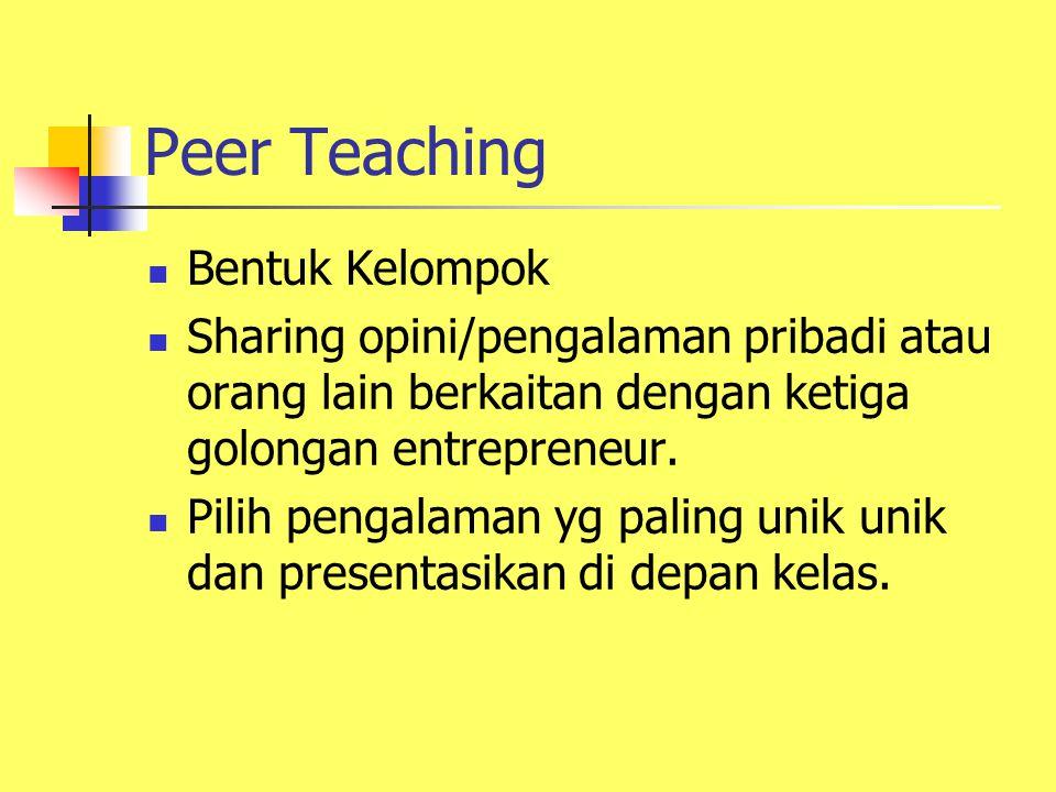 Peer Teaching Bentuk Kelompok Sharing opini/pengalaman pribadi atau orang lain berkaitan dengan ketiga golongan entrepreneur.