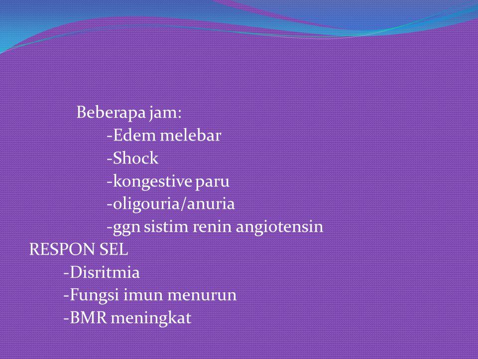 Beberapa jam: -Edem melebar -Shock -kongestive paru -oligouria/anuria -ggn sistim renin angiotensin RESPON SEL -Disritmia -Fungsi imun menurun -BMR me