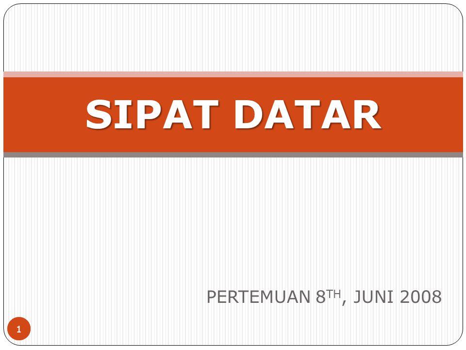 1 PERTEMUAN 8 TH, JUNI 2008 SIPAT DATAR 1