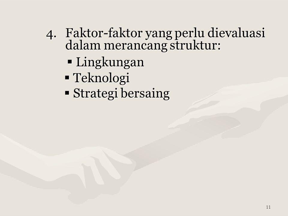 11 4.Faktor-faktor yang perlu dievaluasi dalam merancang struktur:  Lingkungan  Lingkungan  Teknologi  Teknologi  Strategi bersaing  Strategi bersaing