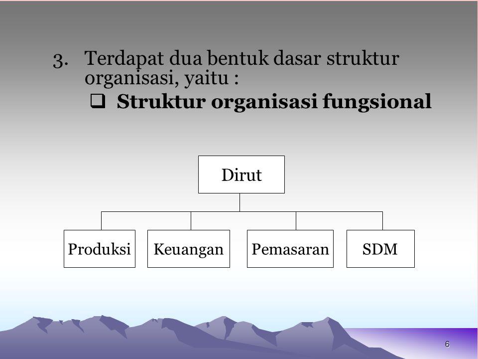 6 3.Terdapat dua bentuk dasar struktur organisasi, yaitu :  Struktur organisasi fungsional Dirut ProduksiKeuanganPemasaranSDM