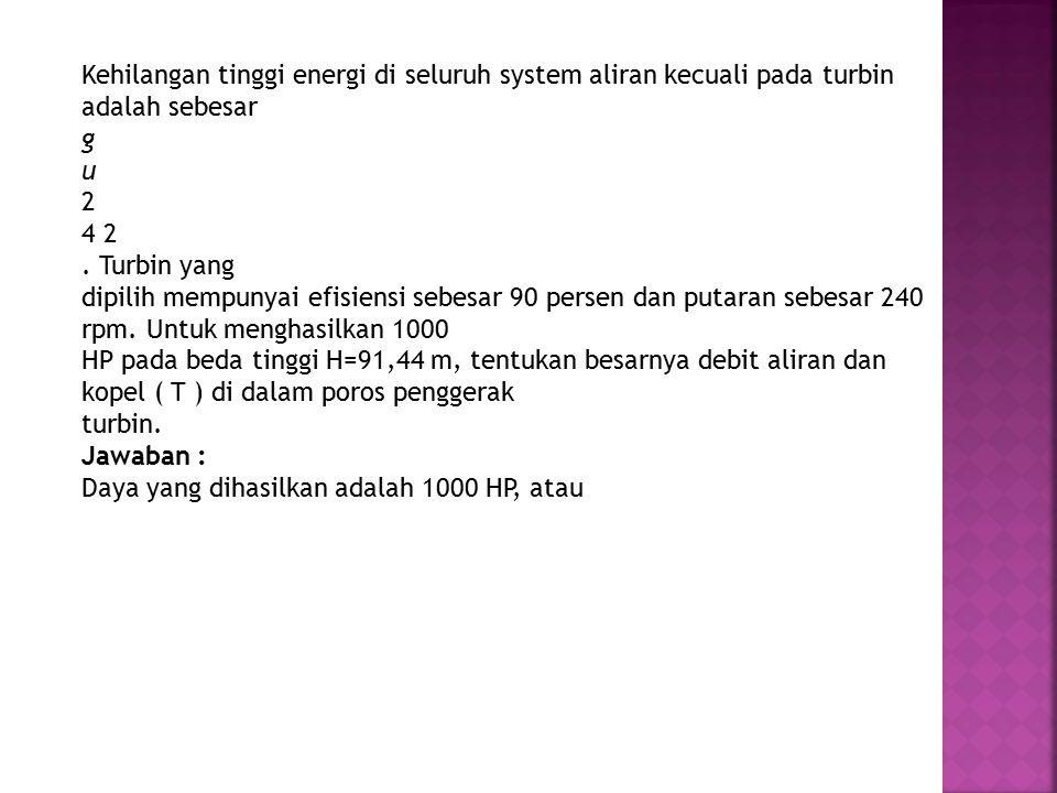 Kehilangan tinggi energi di seluruh system aliran kecuali pada turbin adalah sebesar g u 2 4 2.