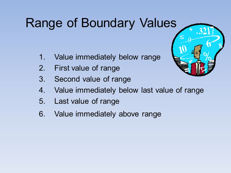1.Value immediately below range 2.First value of range 3.Second value of range 4.Value immediately below last value of range 5.Last value of range 6.Value immediately above range Range of Boundary Values