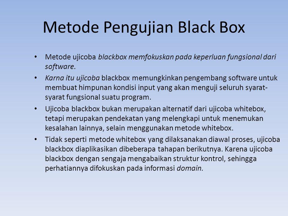 Metode Pengujian Black Box Metode ujicoba blackbox memfokuskan pada keperluan fungsional dari software. Karna itu ujicoba blackbox memungkinkan pengem