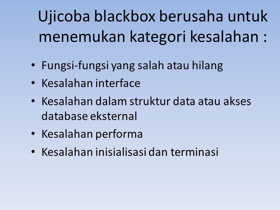 Ujicoba blackbox berusaha untuk menemukan kategori kesalahan : Fungsi-fungsi yang salah atau hilang Kesalahan interface Kesalahan dalam struktur data