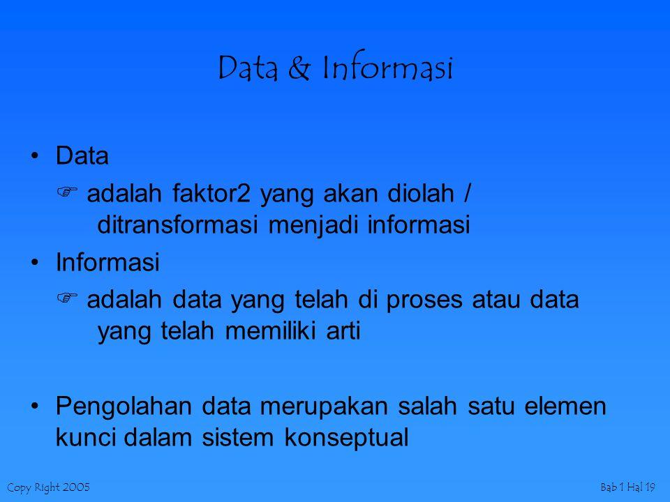 Copy Right 2005Bab 1 Hal 19 Data & Informasi Data  adalah faktor2 yang akan diolah / ditransformasi menjadi informasi Informasi  adalah data yang telah di proses atau data yang telah memiliki arti Pengolahan data merupakan salah satu elemen kunci dalam sistem konseptual