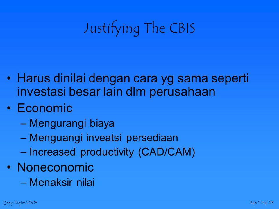 Copy Right 2005Bab 1 Hal 23 Justifying The CBIS Harus dinilai dengan cara yg sama seperti investasi besar lain dlm perusahaan Economic –Mengurangi biaya –Menguangi inveatsi persediaan –Increased productivity (CAD/CAM) Noneconomic –Menaksir nilai