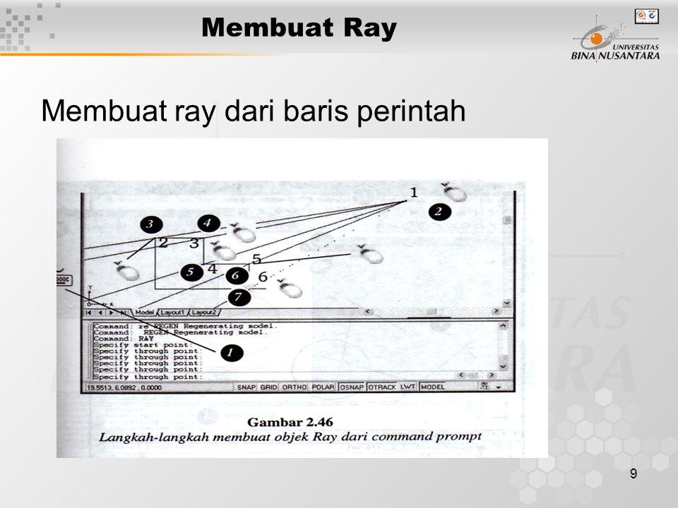 9 Membuat Ray Membuat ray dari baris perintah