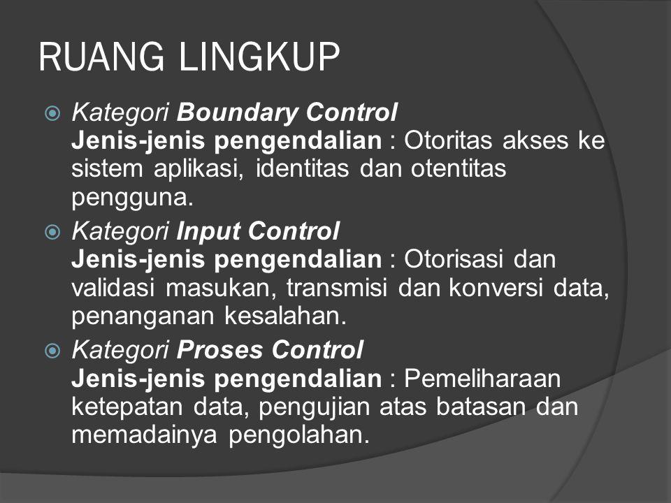 RUANG LINGKUP (lanjutan)  Kategori Output Control Jenis-jenis pengendalian : Penelaahan dan pengujian hasil pengolahan, distribusi keluaran.