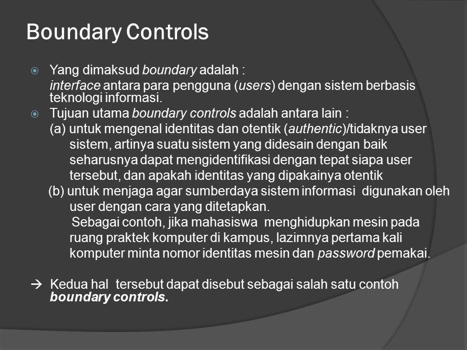 Boundary Controls  Yang dimaksud boundary adalah : interface antara para pengguna (users) dengan sistem berbasis teknologi informasi.  Tujuan utama