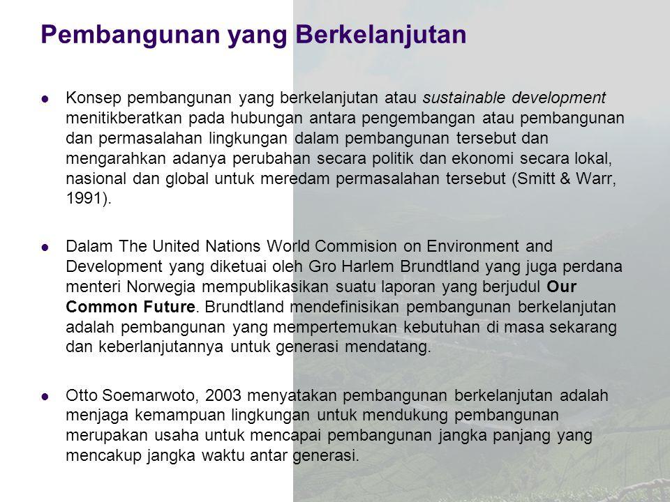 Pembangunan yang Berkelanjutan Konsep pembangunan yang berkelanjutan atau sustainable development menitikberatkan pada hubungan antara pengembangan at