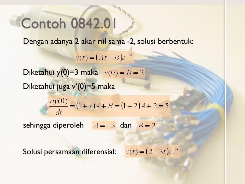 Contoh 0842.01 Dengan adanya 2 akar riil sama -2, solusi berbentuk: Diketahui y(0)=3 maka Diketahui juga v'(0)=5 maka sehingga diperoleh dan Solusi pe