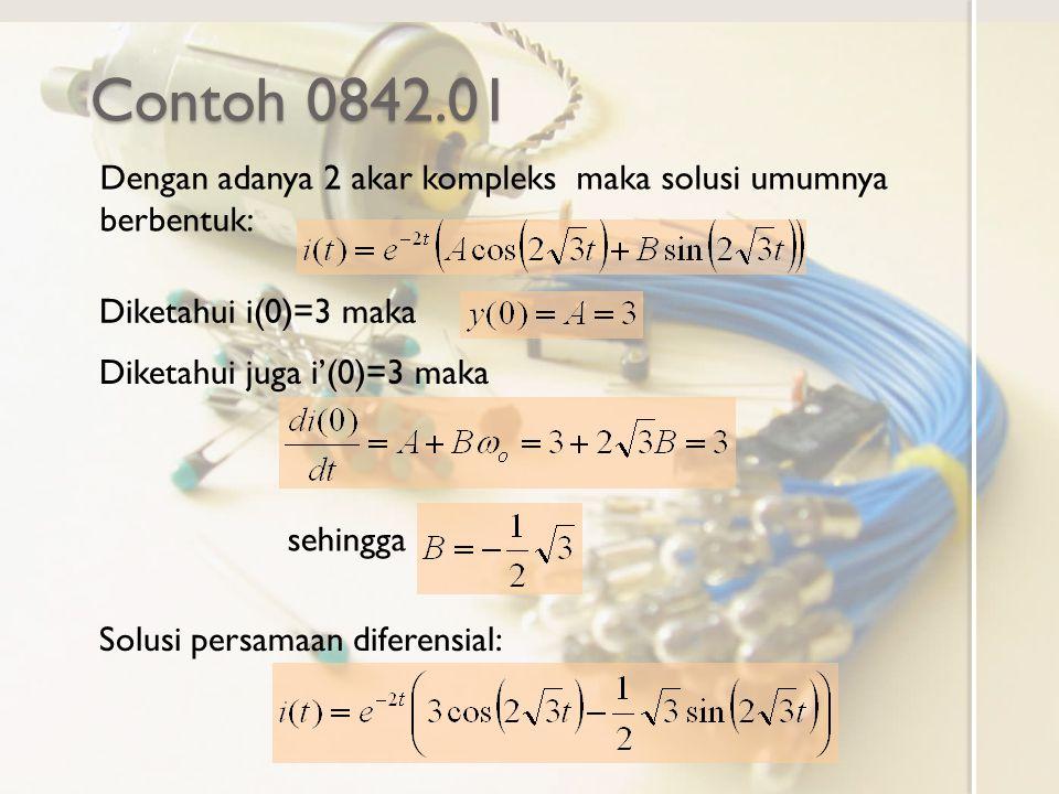 Contoh 0842.01 Dengan adanya 2 akar kompleks maka solusi umumnya berbentuk: Diketahui i(0)=3 maka Diketahui juga i'(0)=3 maka sehingga Solusi persamaa