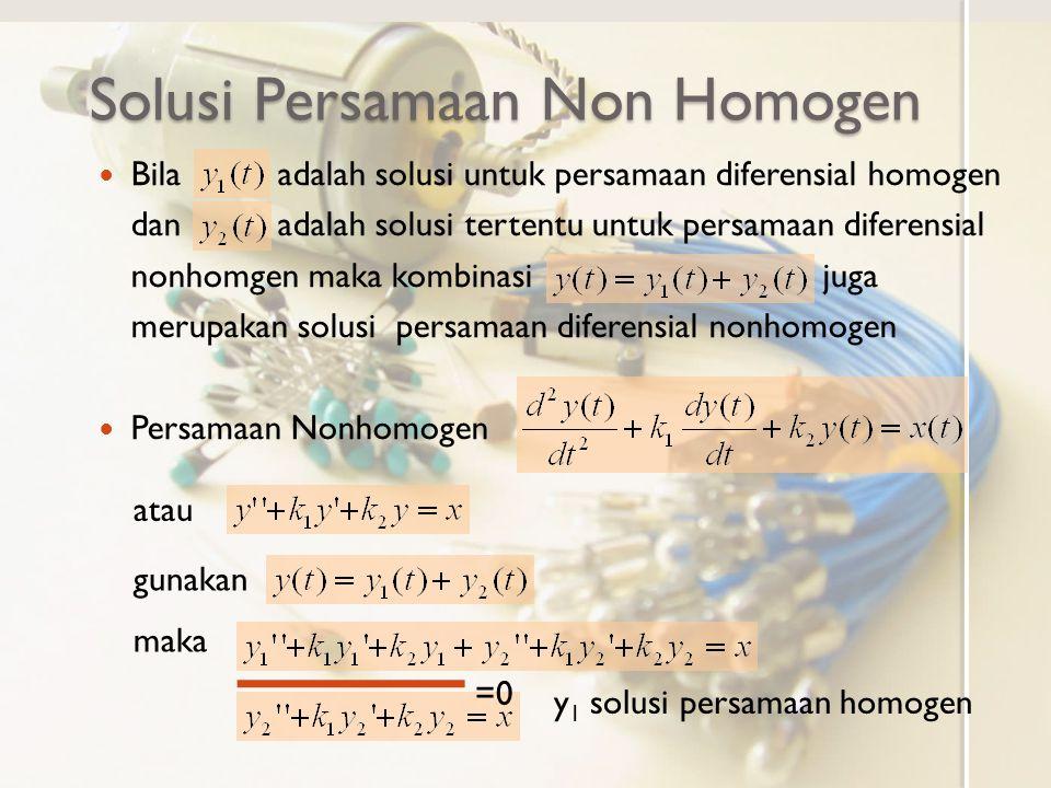 Solusi Persamaan Non Homogen Bila adalah solusi untuk persamaan diferensial homogen dan adalah solusi tertentu untuk persamaan diferensial nonhomgen m