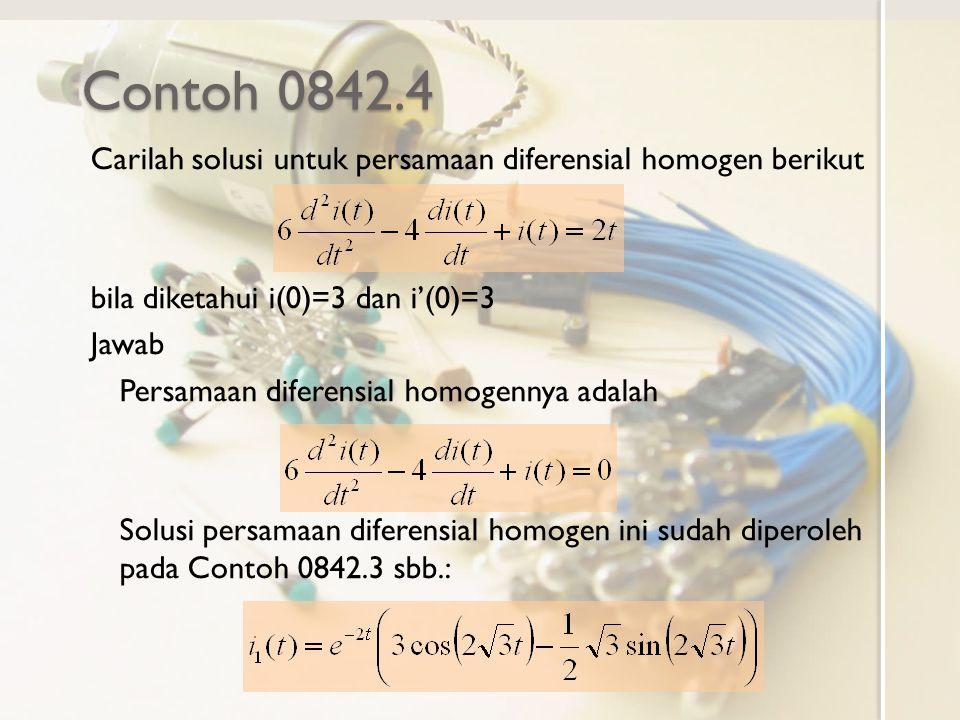 Contoh 0842.4 Carilah solusi untuk persamaan diferensial homogen berikut bila diketahui i(0)=3 dan i'(0)=3 Jawab Persamaan diferensial homogennya adal