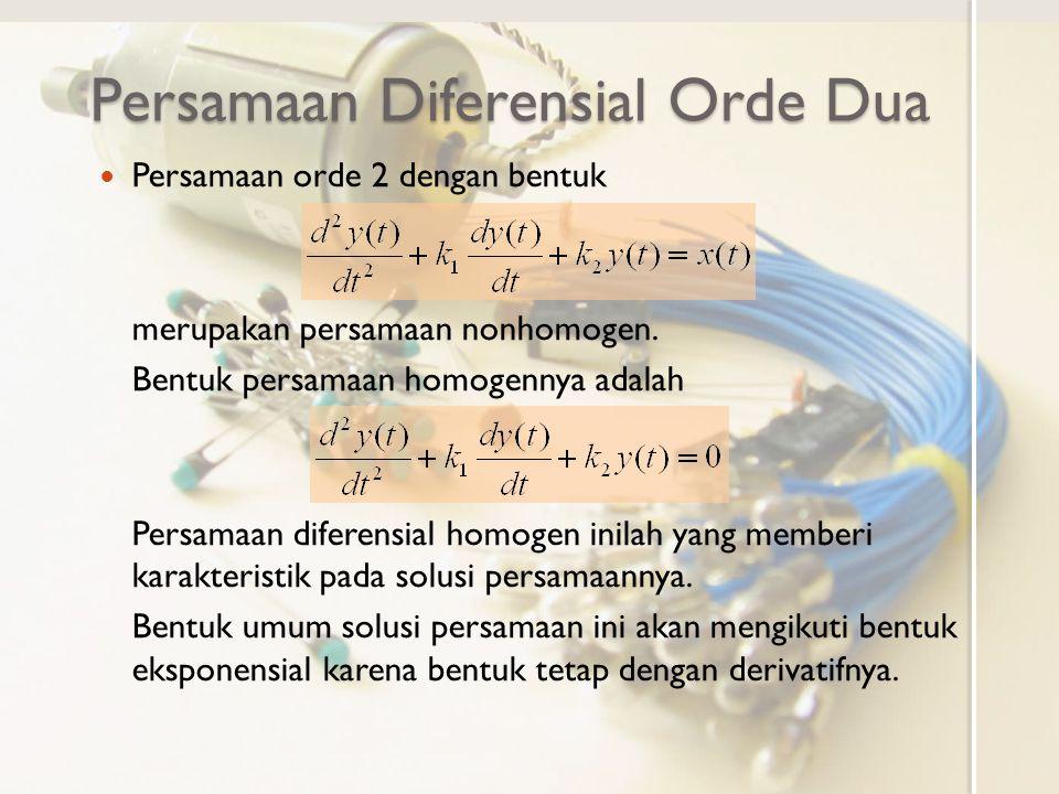 Persamaan Diferensial Orde Dua Persamaan orde 2 dengan bentuk merupakan persamaan nonhomogen. Bentuk persamaan homogennya adalah Persamaan diferensial