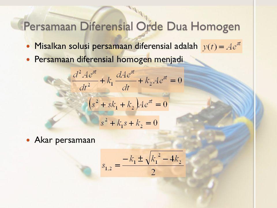 Persamaan Diferensial Orde Dua Homogen Misalkan solusi persamaan diferensial adalah Persamaan diferensial homogen menjadi Akar persamaan