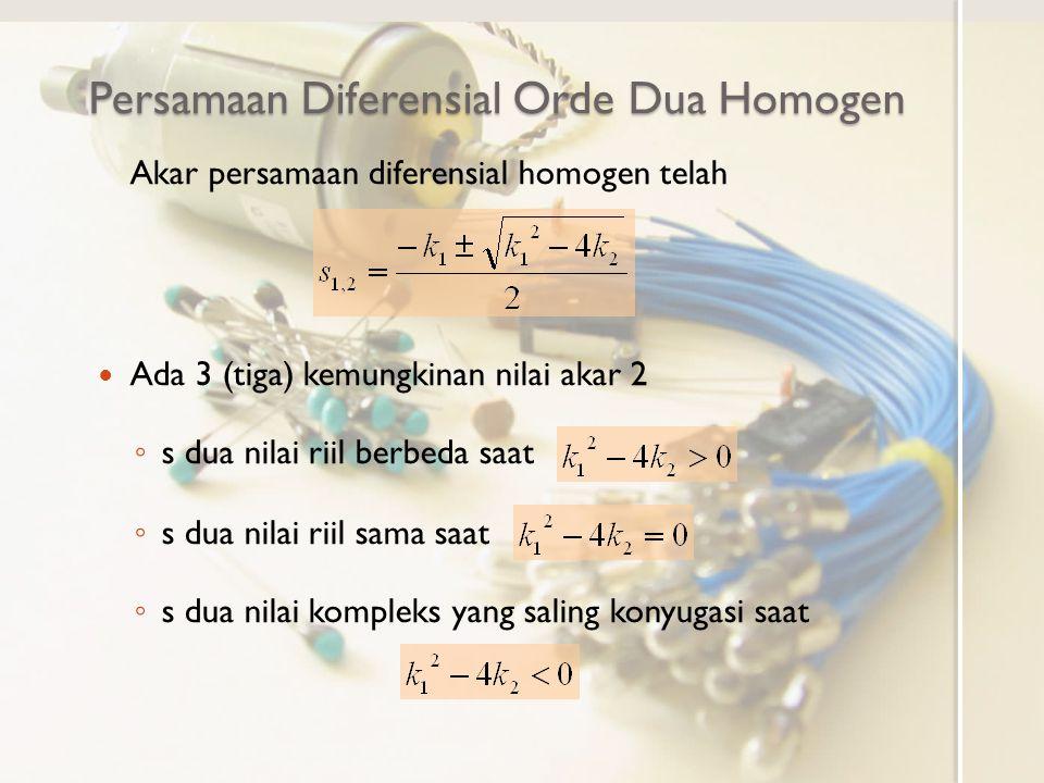 Persamaan Diferensial Orde Dua Homogen Akar persamaan diferensial homogen telah Ada 3 (tiga) kemungkinan nilai akar 2 ◦ s dua nilai riil berbeda saat