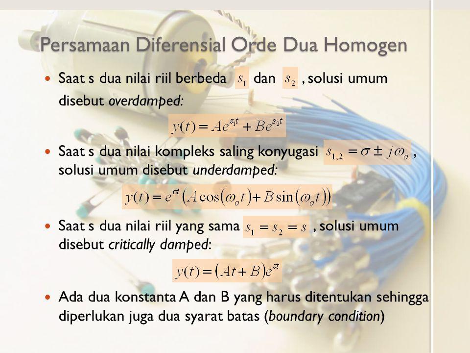 Persamaan Diferensial Orde Dua Homogen Saat s dua nilai riil berbeda dan, solusi umum disebut overdamped: Saat s dua nilai kompleks saling konyugasi,