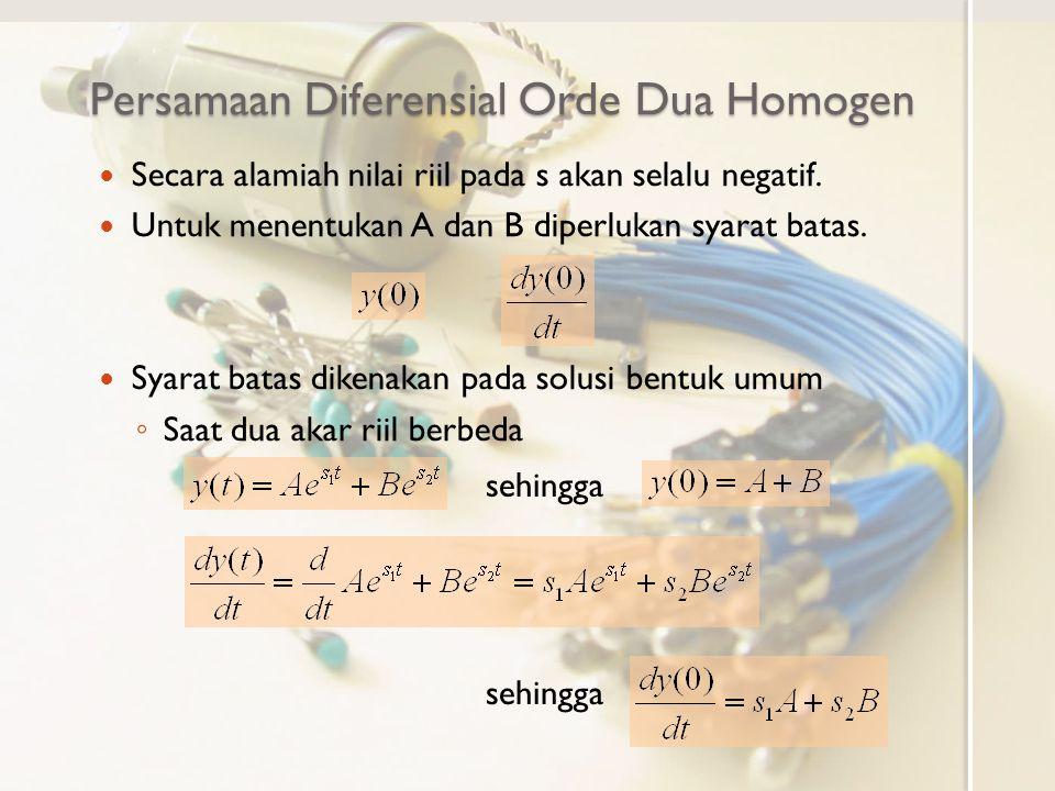 Persamaan Diferensial Orde Dua Homogen Secara alamiah nilai riil pada s akan selalu negatif. Untuk menentukan A dan B diperlukan syarat batas. Syarat