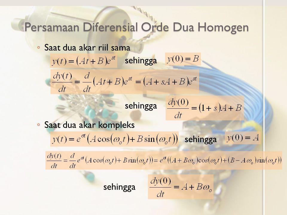 Persamaan Diferensial Orde Dua Homogen ◦ Saat dua akar riil sama ◦ Saat dua akar kompleks sehingga